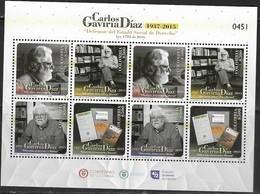 COLOMBIA, 2019, MNH, WRITERS, BOOKS,CARLOS GAVIRIA DIAZ,SHEETLET OF 2 SETS - Schrijvers