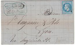 1868 - CACHET BM BOITE MOBILE Sur LETTRE LAC GC 1733 CAD GUERET ENTETE AUBUSSON Pr LYON AFFRANCHIE NAPOLÉON LAURÉ 29 - 1849-1876: Période Classique