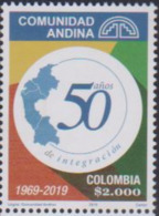 COLOMBIA, 2019, MNH,ANDEAN COMMUNITY, MAPS,1v - Vereine & Verbände