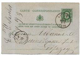 EP N° 12 - Oblitération SC HS 6-S Liège Le 19 Mars 1879 Vers Leipzig (lot 506) - Interi Postali