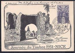 Carte Locale Journée Du Timbre 1951 Nice Signée Artiste F D'hey - Covers & Documents