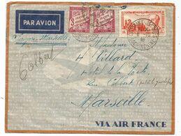 TAXE 3FR PAIRE DEFECTUEUX   MARSEILLE 1938 LETTRE COVER AVION INDOCHINE 37C DOUMER SAINT JACQUES - Lettres & Documents