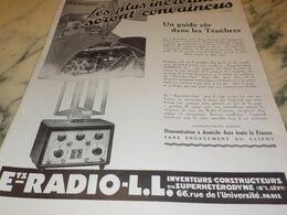 ANCIENNE PUBLICITE UN GUIDE DANS LA LES TENEBRES  RADIO LL 1927 - Radio & TSF