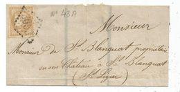 BORDEAUX 10C 4 MARGES MAIS COUP DE CISEAU SEUL LETTRE DEUIL GC 3653 SANS CACHET A DATE POUR CHATEAU ST BLANQUAT ST LIZIE - 1870 Ausgabe Bordeaux