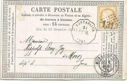 CERES 15C GC 1313 CONVOYEUR STATION PONTARLIER 1874 DOUBS CARTE PRECURSEUR POUR JURA - Marcofilie (Brieven)