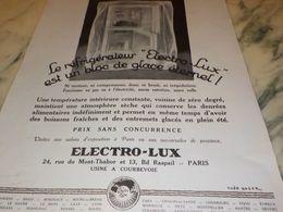 ANCIENNE PUBLICITE BLOC DE GLACE ETERNEL  ELECTRO-LUX 1927 - Scienze & Tecnica