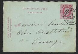 N° 1 Type N°30 De WYCHMAEL Vers Curange Le 15 FEV 1886 (Lot 555) - Entiers Postaux