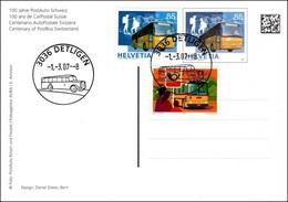 Suisse-Schweiz 2007: 100 Jahre PostAuto Zu 646+1192+ Mi 1181+1956 Yv 1111+1882 Auf Postauto-GS Mit O DETLIGEN -1.-3.07 - Busses