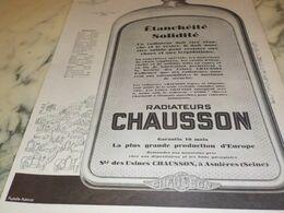 ANCIENNE  PUBLICITE ETANCHEITE MEILLEUR RADIATEUR CHAUSSON 1927 - Other