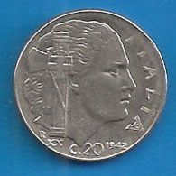1942 R - Regno ITALIA - Magnetica  20 Centesimi  - Circolata - 1861-1946 : Kingdom