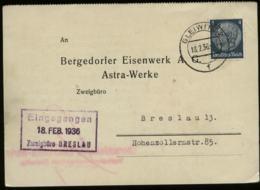WW II Oberschlesien Firmen Postkarte Astra Werke: Gebraucht Gleiwitz - Breslau 1936 , Bedarfserhaltung. - Covers & Documents
