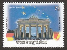 North Macedonia 2020 In Europa Union Berlin Brandenburg Gate Germany Flags European Ideas Stamp MNH - Europäischer Gedanke