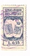COMUNE DI DICOMANO   - MARCA COMUNALE L. 0,25 - STEMMI ABBINATI - 6. 1946-.. Republic