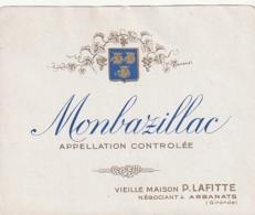 *** ETIQUETTE VIN  ***  Appelation  MONTBAZILLAC (1940/19470 Maison Lafitte - Bergerac