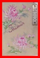 CPA FANTAISIE.  Carte Celluloid Et Peinte, Souvenir, Fleurs Et Baromètre...D602 - Other