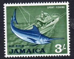 Jamaica 1964-8 Definitives 3/- Blue Marlin Fish Value, MNH, SG 229 (WI2) - Giamaica (...-1961)