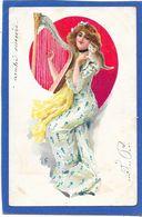 Illustration - Femme à La Harpe, Petit Chat Sur L'épaule - Unclassified