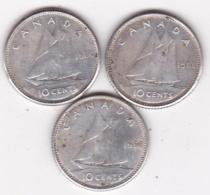 Canada 3 Pièces En Argent De 10 Cents 1960 (2) Et 1966 - Canada