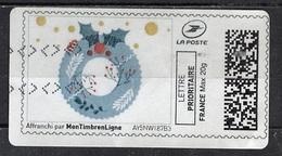 France - Frankreich Timbre Personnalisé Type MTEL LP20-02 (o) - Lettre Prioritaire 20g - Couronne De Noël - France