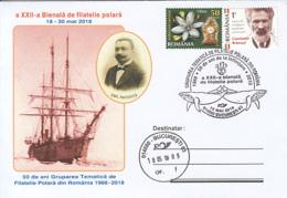 POLAR PHILATELIC EXHIBITION, BELGICA SHIP, EMIL RACOVITA, WHALE, SPECIAL COVER, 2018, ROMANIA - Events & Commemorations