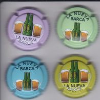 LOTE DE 4 PLACAS DE CAVA DE CERVEZA (BEER)  (CAPSULE) BAR LA NUEVA BARCA - Mousseux