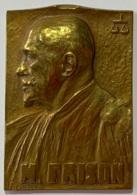 Médaille Bronze. Maurice Frison Avocat Près De La Cour D'Appel De Bruxelles.  1887-1937. P. Braecke - Professionnels / De Société