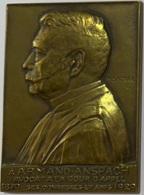 Médaille Bronze. Armand Anspach. Avoct à La Cour D'Appel 1979-1929. Ses Confrères Et Amis. Ch. Samuel - Professionnels / De Société