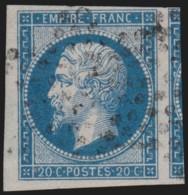 N°14B, Napoléon 20 Bleu, Type II, Oblitéré, Grandes Marges Et Voisin - SUPERBE - 1853-1860 Napoléon III