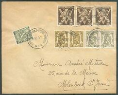 35 Centimes LION V (Fr./Nl) X 3 + 10c. Petit Sceau De L'Etat (x4), Obl. Sc 15-12-1945 Sur Lettre Avec T-TX 10c. Obl. Sc - Impuestos