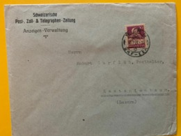 10413 - Lettre Schweizerische Post Zoll & Telegraphen Zeitung Bern 30.09.1921 - Covers & Documents