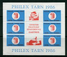 FRANCE- Feuillet De 6 Vignettes- PHILEX TARN 1986- 8 Et 9 Novembre - Expositions Philatéliques