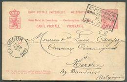 E.P. 10c. Rouge S/crème Obl. Ambulant ECHTERNACH-GREVENMACHER F.C. 26/5 1898 Vers Tertre- 15916 - Stamped Stationery