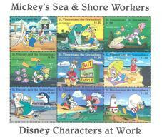 MWD-BK6-384-1 MINT PF/MNH ¤ ST VINCENT 1996 SHEET 9w In Serie ¤ DISNEY CHARACTERS AT WORK -  FRIENDS OF WALT DISNEY - Disney