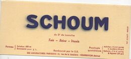 BUVARD  SCHOUM Du Dr. De Lannoïse -laboratoires Parisiens  15 Rue De La Sablière COURBEVOIE Seine - Drogheria