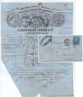 SARREGUEMINES - GC 3305 - FABRICANT D'ALLUMETTES / 1866 # 22 - 20 C. BLEU SUR PLI POUR MULHOUSE (ref 3259) - Elsass-Lothringen