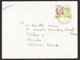 Samoa: Airmail Cover To Solomon Islands, 1992, 1 Stamp, Christmas, Flower, Rare Real Use (damaged: Fold) - Samoa