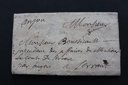 1695, LAC PARIS DATEE DE JUIN 1695  POUR  L INTENDANT DU COMTE DE SERRANT PRES D'ANGERS RARE.. - Postmark Collection (Covers)