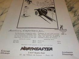 ANCIENNE PUBLICITE AVERTISSEZ CLAXONNE NORTHEASTER 1927 - Other