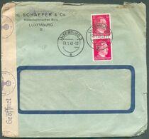 Lettre Affranchissement 2x12pfg Hitler Obl. Dc LUXEMBOURG 1943 Vers Tertre Exp. Schaefer Ingénieur - Bandes Et Cachets - 1940-1944 German Occupation