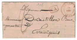1845 - LETTRE Avec CAD CACHET ROUGE De TOURNAY + GRIFFE CA Pour LE BOURGMESTRE D' ESTAIMPUIS BELGIQUE - 1830-1849 (Belgica Independiente)