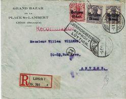 """OC 14+16 (2x) S/L. Rec. """"Grand Bazar Place St-Lambert"""" De LIEGE (3-9-18) à ANVERS + Censure """"Lüttich"""" + Cachet Facteur - Weltkrieg 1914-18"""