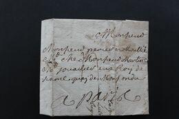 1740, RARE LAC MARQUE LINEAIRE BLOIS?ADRESSEE AU JOAILLIER DU ROI DE FRANCE A PARIS TAXE MANUSCRITE. - 1701-1800: Vorläufer XVIII