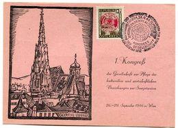 AUSTRIA 1946 Austro-Soviet Friendship Congress On Presenatation Card.  Michel 784 - FDC