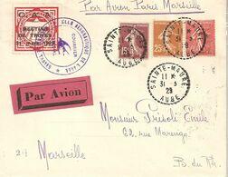 Enveloppe Marquant Le Meeting Aéronautique De Troyes Du 31 Mars 1929 - Vol Sainte-Maure Près Troyes/Paris/Marseille - Flugzeuge
