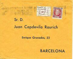 """Murcia A Barcelona 1937, Carta Con Local """" Colonias Infantiles """". Guerre D' Espagne - Emisiones Repúblicanas"""