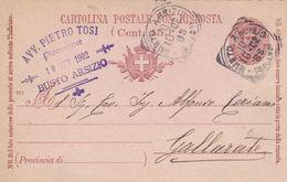 ITALIA - REGNO - BUSTO ARSIZIO (VA) - INTERO POSTALE C. 7 1/2 CON RISPOSTA C. 15 - VIAGGIATO PER GALLARATE (VA) - 1900-44 Victor Emmanuel III