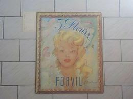Belle Affiche Carton Dur Panneau Pub Parfum 5 Fleurs De Forvil Illustrateur Jacques Marys(e) 54 X 44 Cm - Alte Miniaturen (bis 1960)