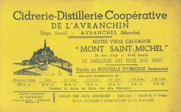 Pub /   Buvard : Cidrerie  Calvados à Avranches Mont St Michel , Petites Taches    ( Années 30)   ///  Ref.  Juillet 20 - Lebensmittel