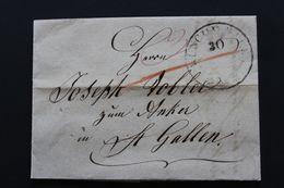 1843 LAC MÜNCHWYLEN POUR ST GALL CAD DU 30/09/1843 POUT ST GALLTAXE MANUSCRITE ROUGE CAD ARRIVEE ST GALLEN - Marcophilie