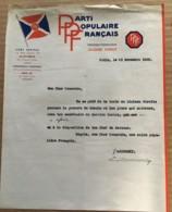 LETTRE DE ABREMSKI / PARTI POPULAIRE FRANCAIS PPF DORIOT / MENTION MANUSCRITE ENTERREMENT DE SALENGRO COUP DUR C893 - Documentos Históricos
